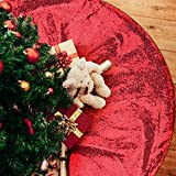 yuboo Red Christmas Tree Skirt, 48 Inch Sequin