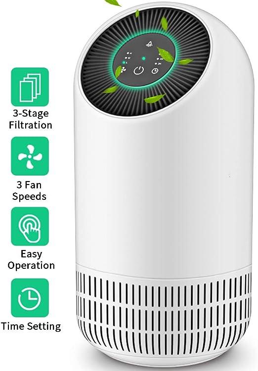 Honati purificador de aire para alergias y mascotas del hogar, filtro HEPA real, fácil de eliminar