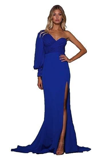 a327f13472f Elle Zeitoune Royal Blue Charles High Split One Shoulder Gown UK 12 (US 8)   Amazon.co.uk  Clothing