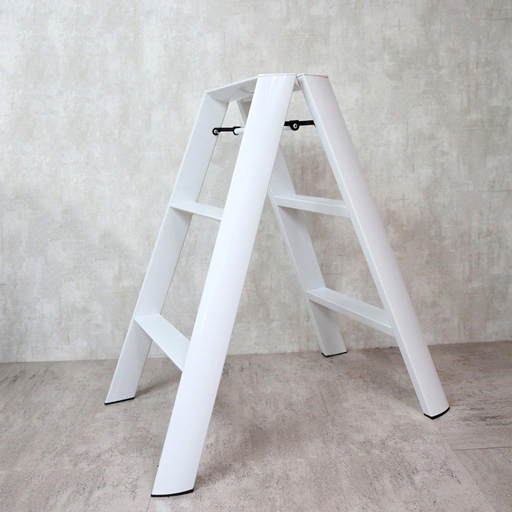 3ステップのはしごのスツールアルミニウム折りたたみの子供3ステップの椅子の二重使用ポータブルホームベアリング重量150kg (色 : 白) B07DDDCP1W 白 白