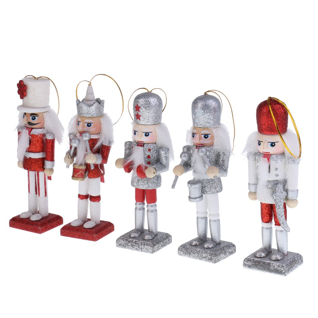 MonkeyJack 5Pcs Glitter Nutcrackers Puppets in Classical Suit 12cm Tall Handmade Wooden Nutcrackers Christmas Tree Decorations Children Kids Xmas Gifts