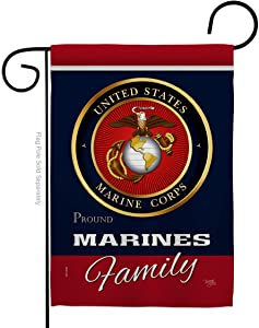 Marine Corps Marines Proudly Family Garden Flag Armed Forces USMC Semper Fi United State American Military Veteran Retire Official Small Gift Yard House Banner Double-Sided Made In USA 13 X 18.5