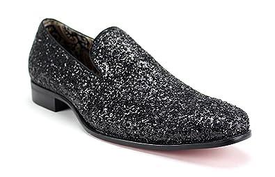 6683 Menss Slip On Glitter Loafers Black Size 10.5