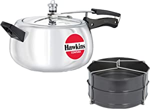 Hawkins Contura 5 LTR Silver Pressure Cooker with Hard Anodised 2 Pc Separater Cooker Dabba and Stand