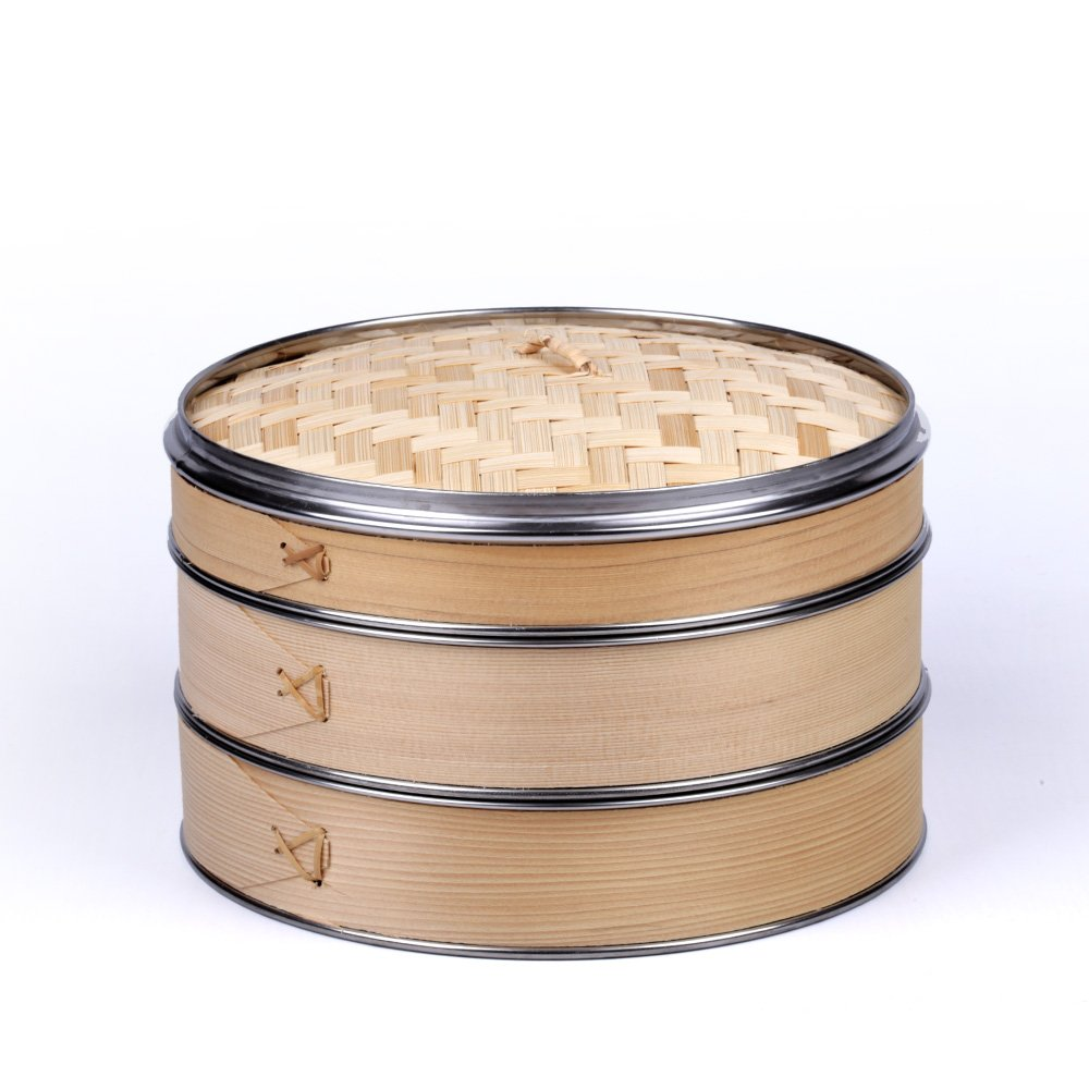 HUANGYIFU Handmade 6-12Inch Wooden Steamers with Stainless Steel Banding, 2Tiers with 1 Lid, Chinese Steamer for Cooking