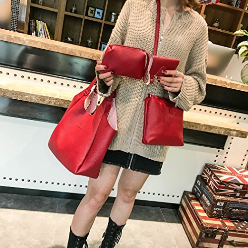 Bags Fashion Wallet FUNOC Red Tassel Large Handbag Women Bag Girls 4Pcs Bags Set Shoulder Card Crossbody qztyctv