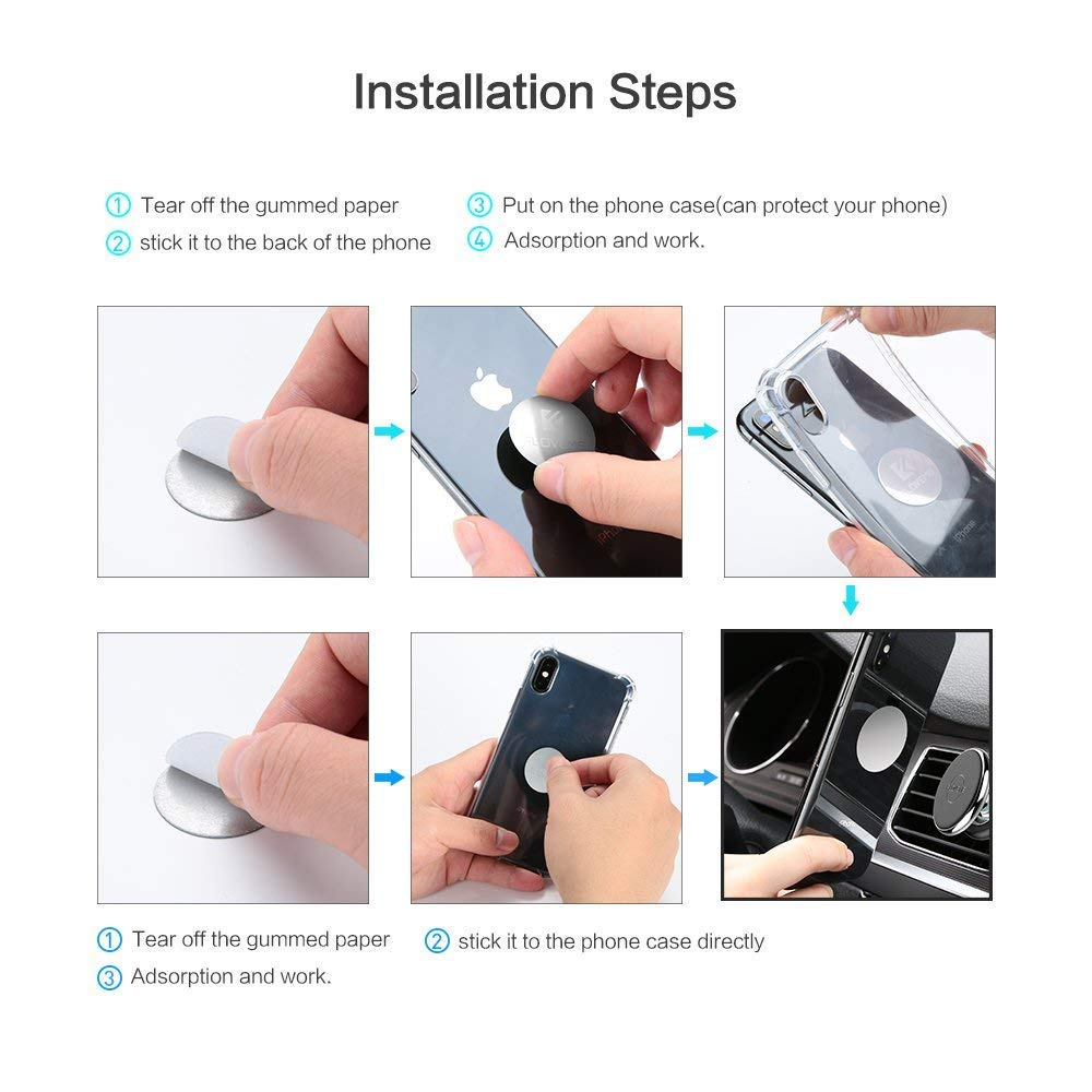 MOA ELEGANT Universal Magnetic Car Mount for Any Phone 100 to Safeness /& Comfort GPS or Light Tablet Stylish Black Chrome One-Hand /& One-Sec Dash Holder
