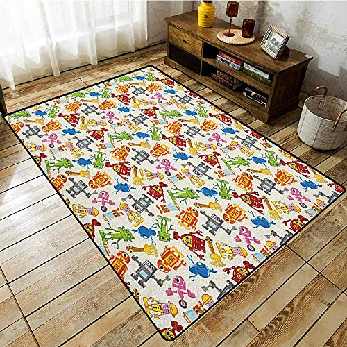Classroom Rug,Kids,Colorful Cartoon Robot Collection Boys Nursery Theme Futuristic Fantastic Science Toys,Anti-Slip Doormat Footpad Machine Washable,4'11
