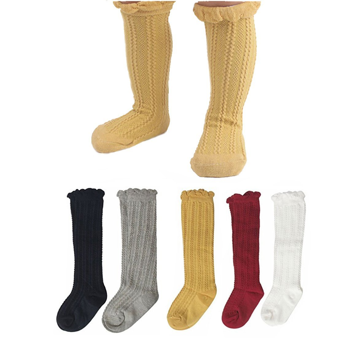 5Pairs Unisex Baby Cable Knit Knee High Socks Cotton Tights Leg Warmer Tube Stocking Sywwlov