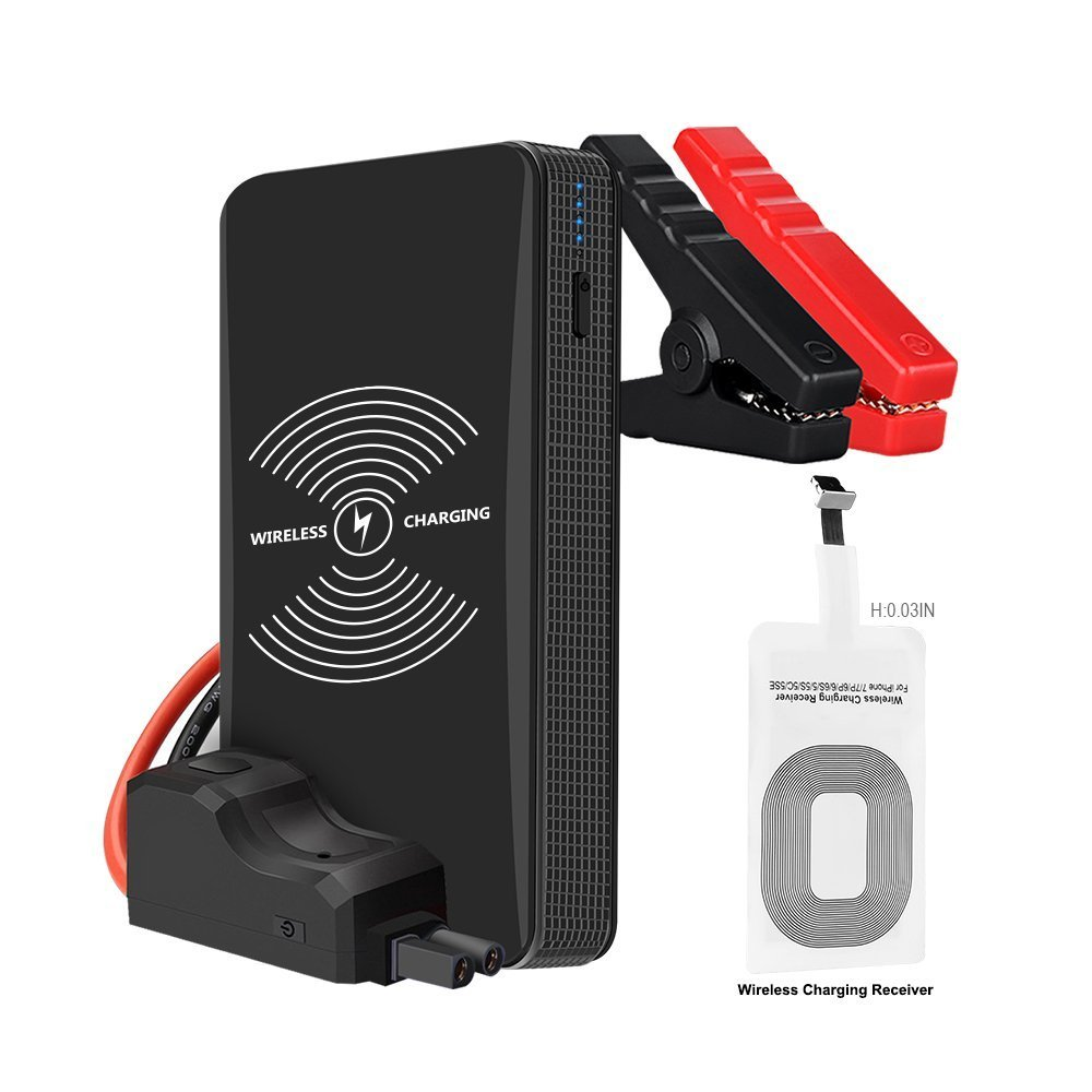 Portable Car Jump Starter 400A Peak 6000mAh (Up to 2.5L Gas Car) Mini Auto Battery Booster Power Pack,Smart Charging Port & Wireless Charger,LED Flashlight in 3 Modes
