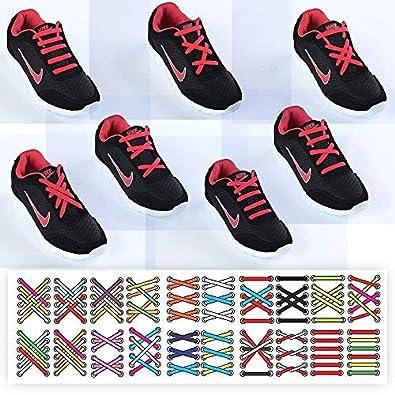 Mocent Lacci per scarpe elastici in silicone,che non hanno bisogno di essere annodati,per scarpe da bambini e adulti,per corsa ed esercizio,facili da lavare,disponibili in vari colori