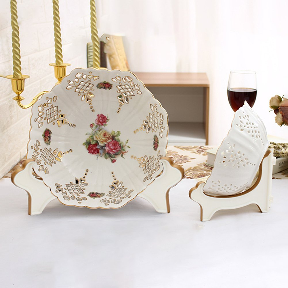 Platters and Deep Dishes White Gold Artliving Display Stand Easel Bowl Stands for Display Large Deep Bowls