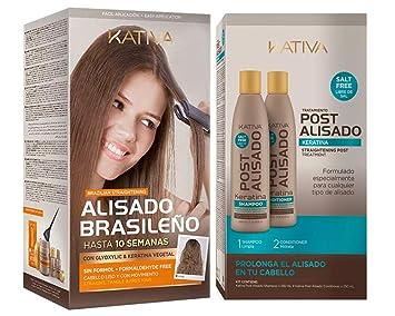 Kativa Keratina y Argán - Kit Alisado Brasileño + Post Alisado 2 uds: Amazon.es: Belleza