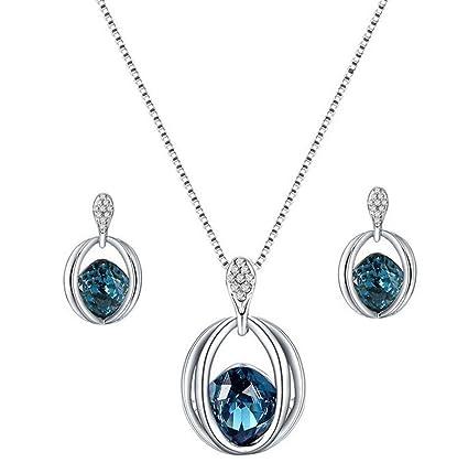 1cf87fcd6d2f Scrox Collar Pendientes Cristal de Diamante Elegante Joyas de Mujer Conjunto  de Cristal Colgante Collar +