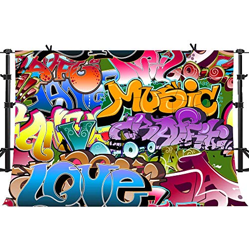 PHMOJEN 10X7ft Graffiti Style Background 80's 90's Themed Party Backdrop for Photography Hip Hop Background Studio Props GEPH035]()