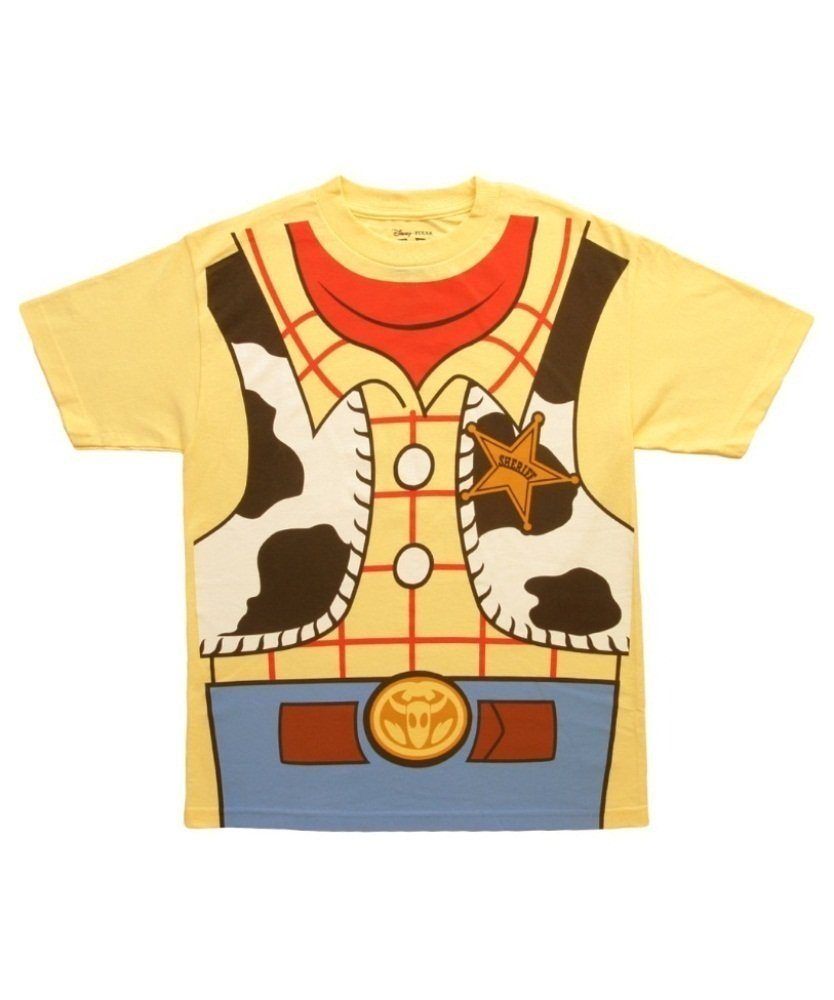 Mighty Fine Toy Story I Am Woody Costume Tee Mens Yellow M