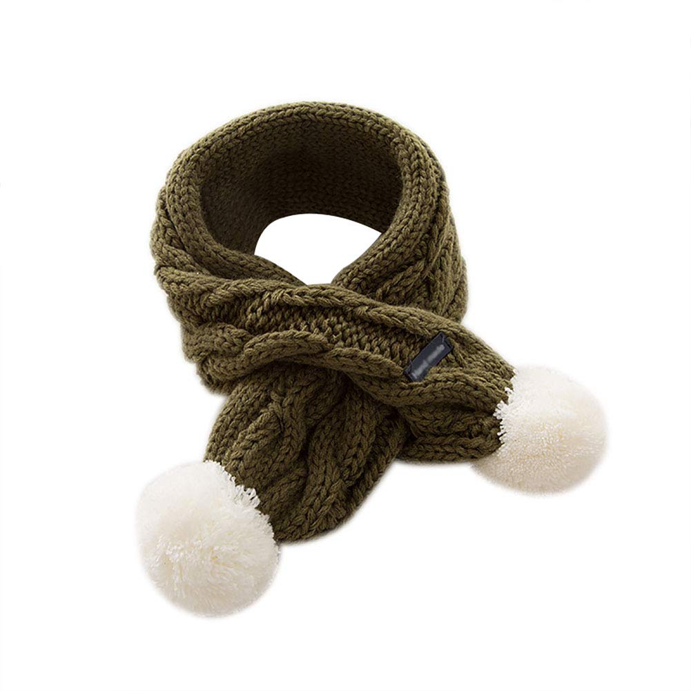 Hosaire 1x Kids Scarf Autumn and Winter Cute Twist Cross Children Scarf Knitted Warm Snood Soft Collar with Lovely Balls Great Gift, 68cm*8.5cm, Pink