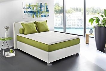 Kasper-Wohndesign Cama con somier Cama Mila 140 x 200 cm Piel Sintética Color Blanco