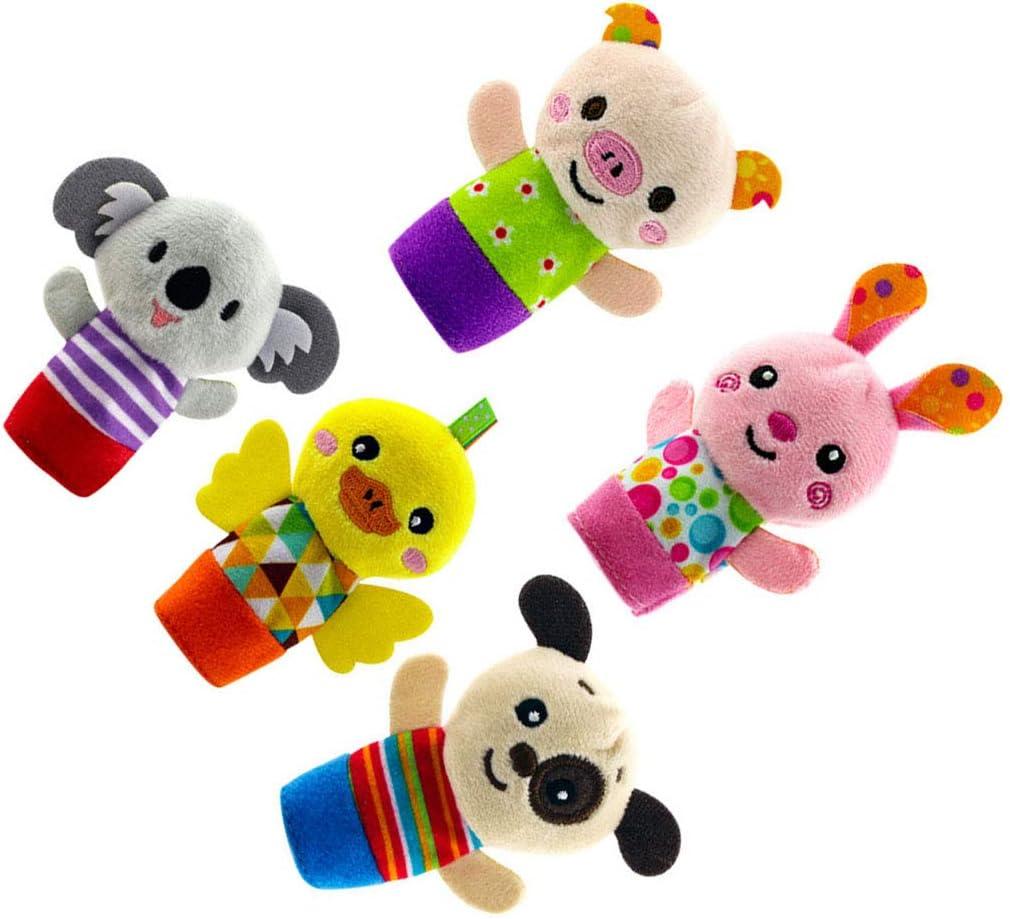 Topker 5PCS Set Fingerpuppen Nette Karikatur-Biological Tier-Pl/üsch-Spielzeug Kind Baby Favor Puppen Jungen M/ädchen Fingerpuppen