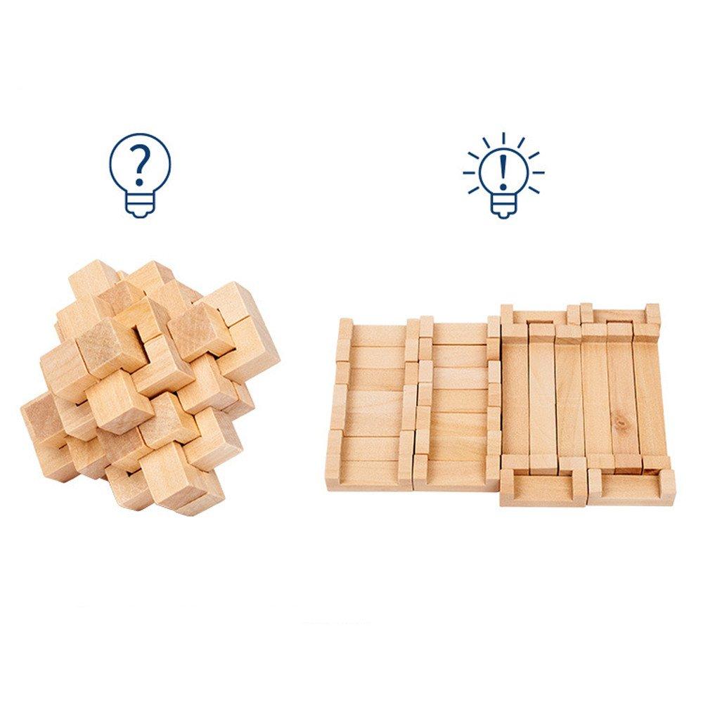 カルムパズル玩具 3D木製玩具ゲーム IQ頭の体操 教育パズル 幸運のチャイニーズなコングロックルバンロック 子供 大人用 24連結ジャグソー  A B07K49WJP8
