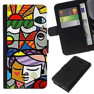 KLONGSHOP // Tirón de la caja Cartera de cuero con ranuras para tarjetas - Ventana cubista del collage del vitral - LG OPTIMUS L90 //