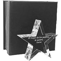 Mon Cadeau en verre - Trofeo Estrella de Vidrio de Calidad óptica - Personalizable - Grabado por láser -