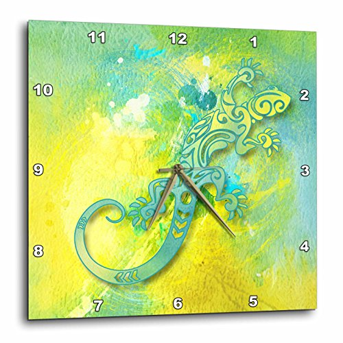 - 3dRose Doreen Erhardt Nature - Stylized Lizard Watercolor Strokes in Green Yellow and Bright Blue - 10x10 Wall Clock (dpp_264574_1)