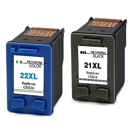 Ink_Seller - Set de 2 Cartuchos de tinta de repuesto para HP 21XL y HP 22XL, impresoras HP