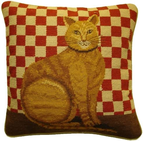 Deluxe Pillows Brown Cat Red Checks – 15 x 15 in. needlepoint pillow