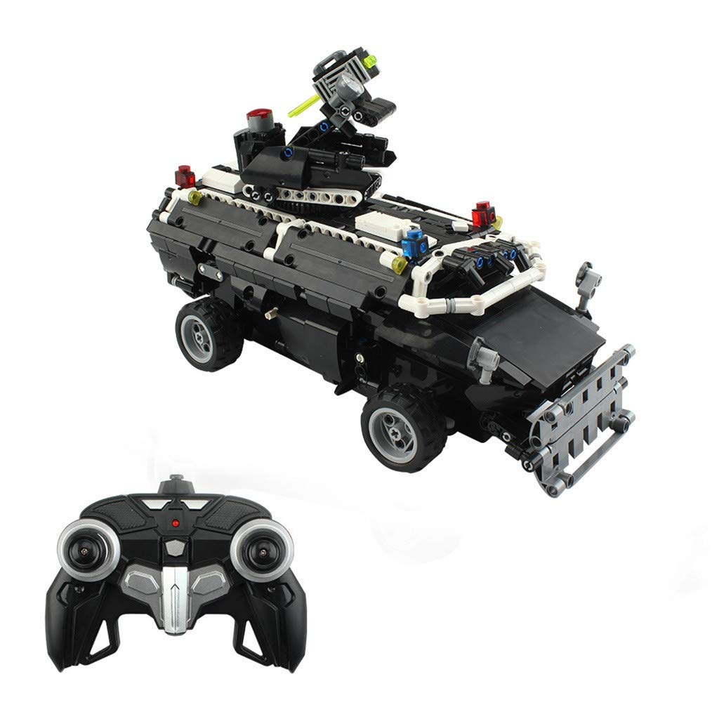 1:12 Military Armored Swat Car 768-Piece 2.4Ghz Electronic Military Car Explosion-Proof Vehicle Educational Remote Control Building Bricks kit for Kids Construction Build It Yourself Toys