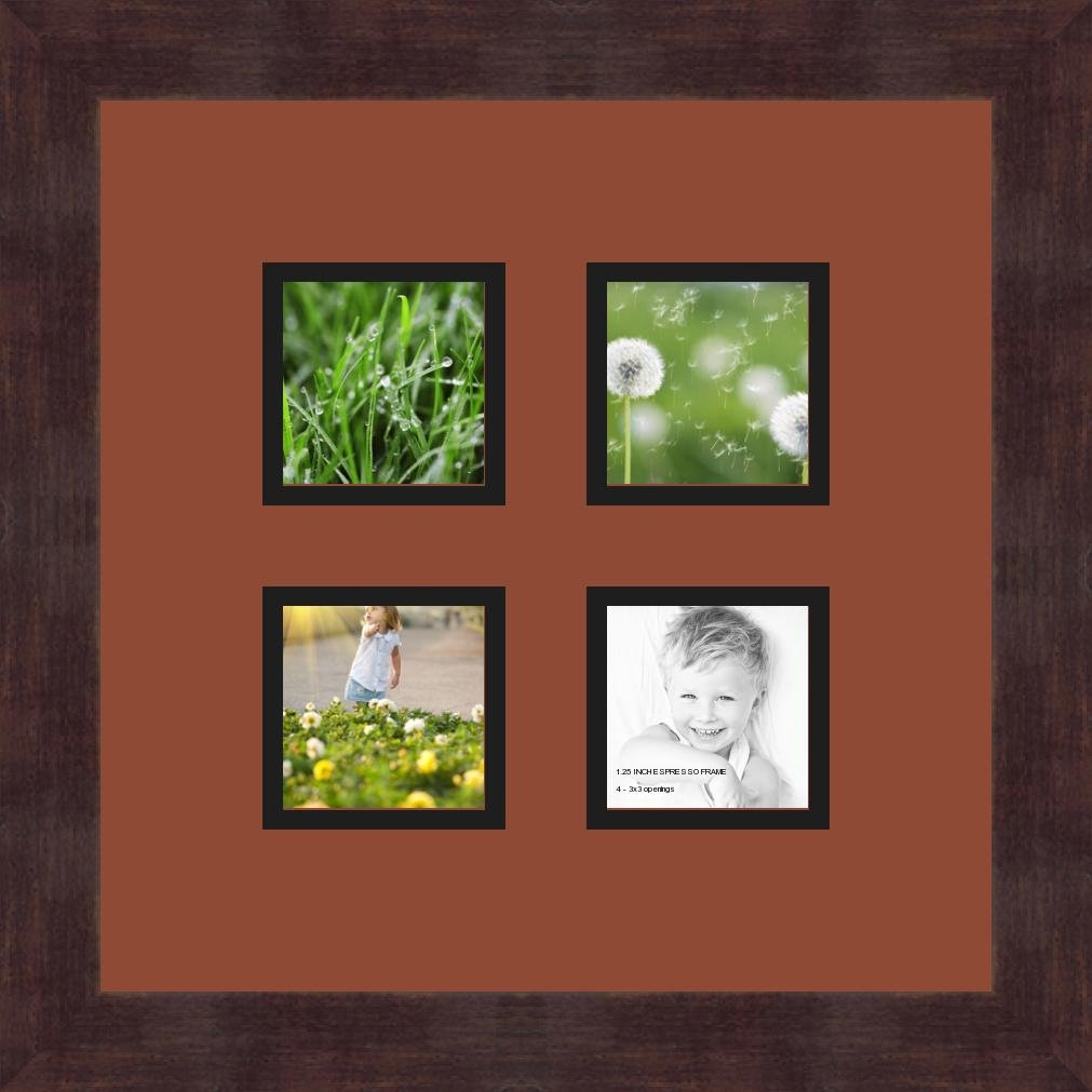 ArtToFrames 1.25-Inch Espresso Picture Frame with 4 Openings of 3 by 3-Inch and a Cognac Top Mat and Black Bottom Mat