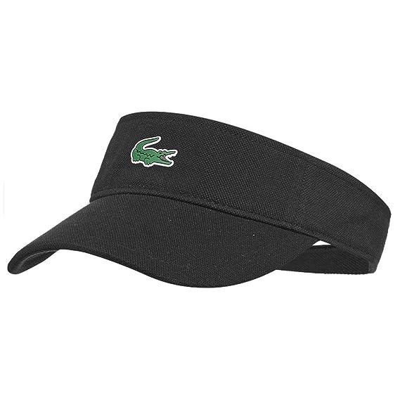 e0af01d66bc2a5 Lacoste Mens RK3553 Adjustable Pique Cotton Visor Golf Cap - Black - One  Size