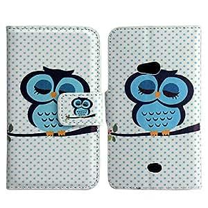 Nokia Lumia 625 PU LEATHER CUTE OWL - GREY INSIDE design flip Stand case móvil casos bumper Flip bag Cover protección thematys®