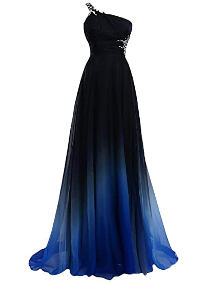 YSK Womens Gradient Color Prom Dresses Long Ombre Evening Dresses One-Shoulder