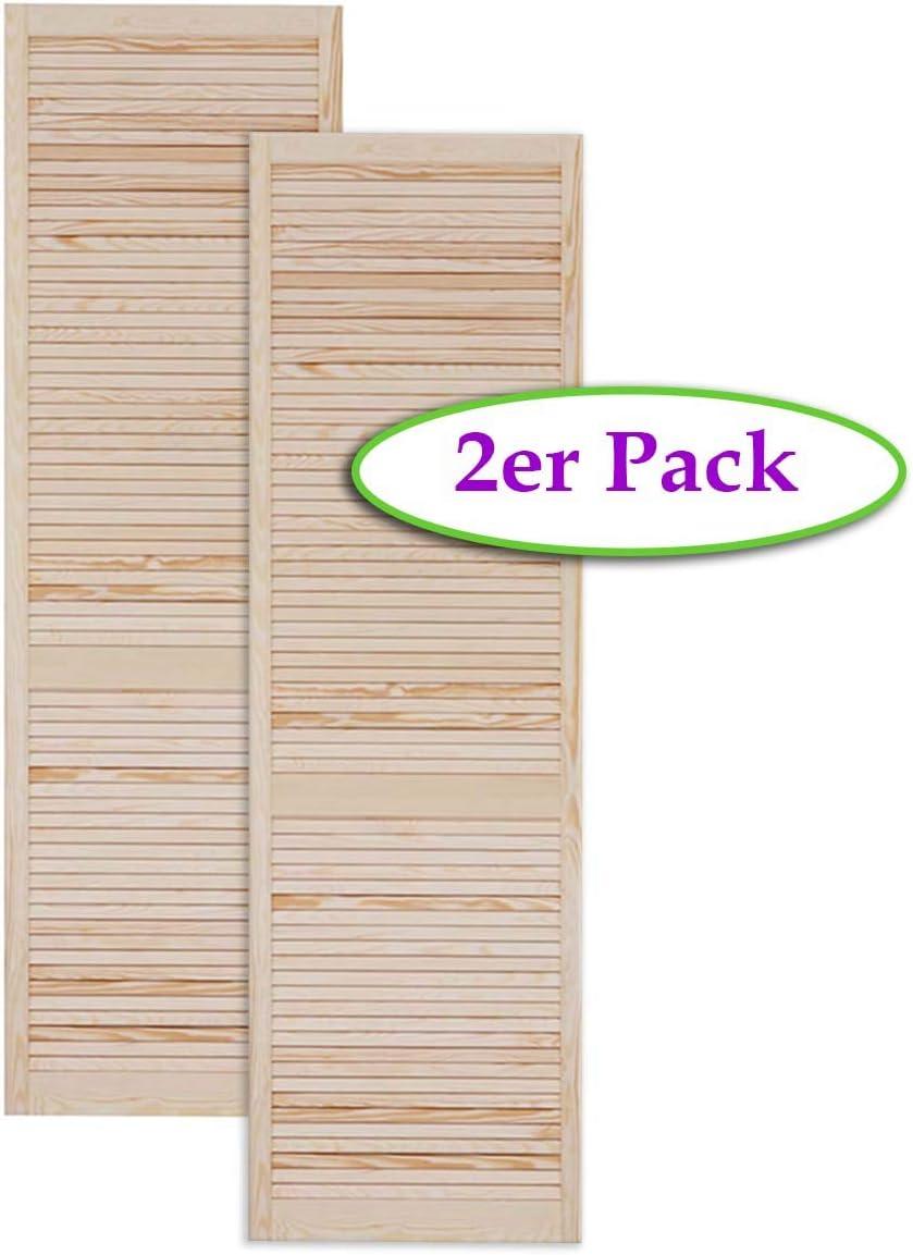 Kiefer Holz unbehandelt Lamellent/ür Holzt/ür natur 140,6 x 39,4 cm mit offenen Lamellen f/ür Regale Schr/änke M/öbel