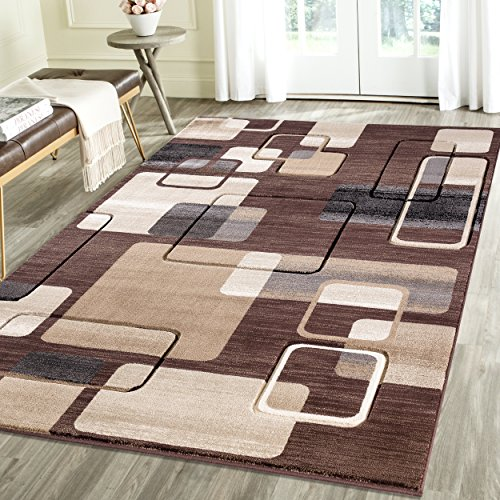 Feature 3 Feet Sheer Curtain (Contemporary Thin Squares Geometric Emerald Collection Area Rug by Rug Deal Plus (2' x 3', Brown/Beige))