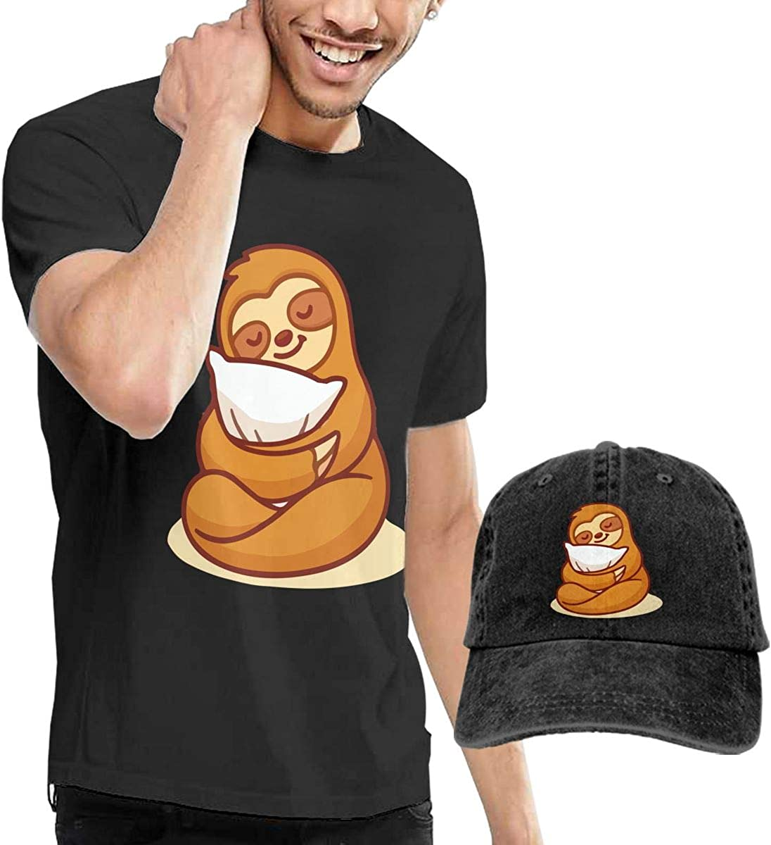 QqZXD Sleeping and Pillows Cute Sloth Fashion Mens T-Shirt and Hats Youth /& Adult T-Shirts Black