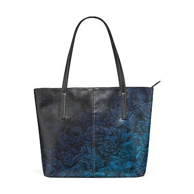 high-quality Womens Leather Top Handle Shoulder Handbag Blue-Black Flower Large Work Tote Bag