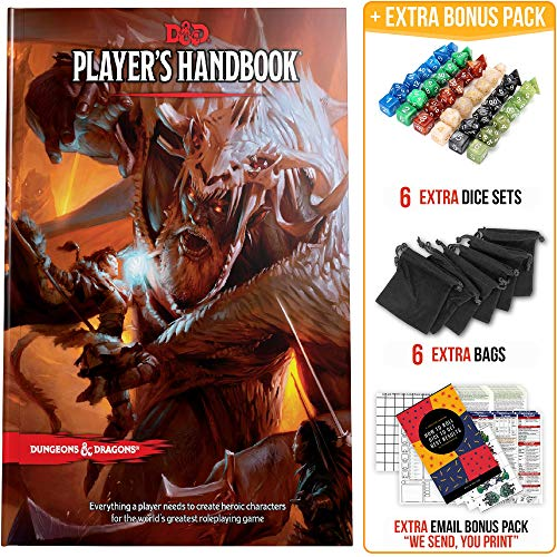 Player's Handbook Dungeons and Dragons 5th Edition with DND Dice and Complete Printable Kit - D&D Core Rulebook - D&D 5e Players Handbook Gift Set - D&D Starter Set Accessory - DND Beginner Gift Set (Dungeons Dragons Beginner)