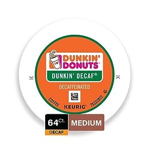 Dunkin' Donuts Medium Roast Decaf Coffee, 64 K Cups for Keurig Coffee Makers