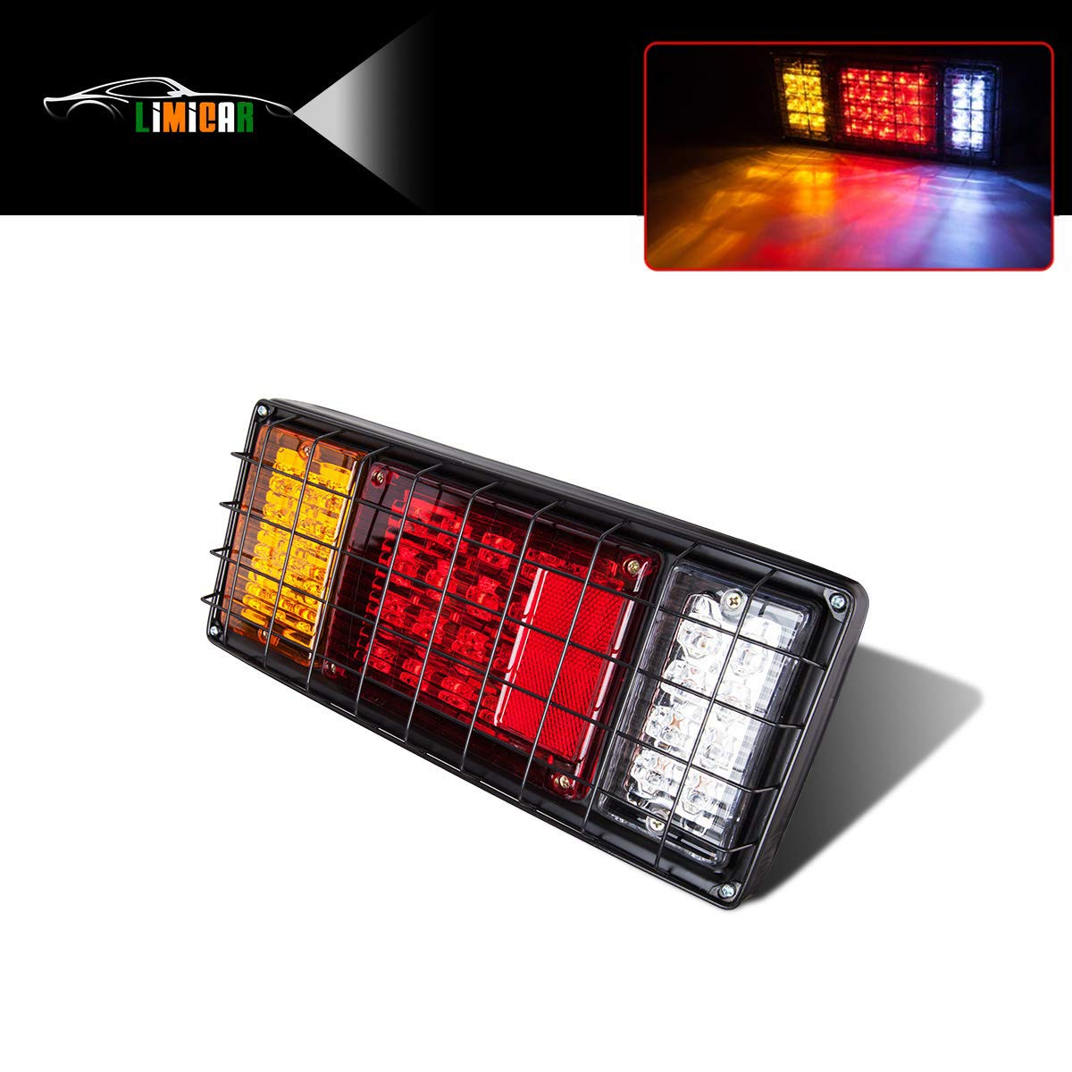 limicar 40 led trailer tail light bar waterproof turn signal brake reverse running lights with iron net protection left side for truck boat trailer trailer light placement yitamotor square red trailer lights