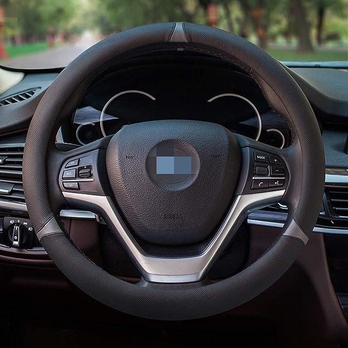 Honcenmax Mikrofaser Weich Fahrzeug Lenkradabdeckung Bequem Auto Lenkradschutz Universal Durchmesser 38cm 15 Auto