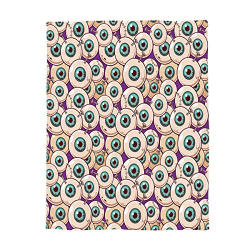 Luxury Flannel Fleece Throw Blanket Super Soft Warm Fuzzy Plush Microfiber Lightweight Throw Couch Chair Bed Blankets for Fall Winter Spring - Twin 50x60 Inch Halloween Theme Zombie Eyeball for $<!--$37.57-->