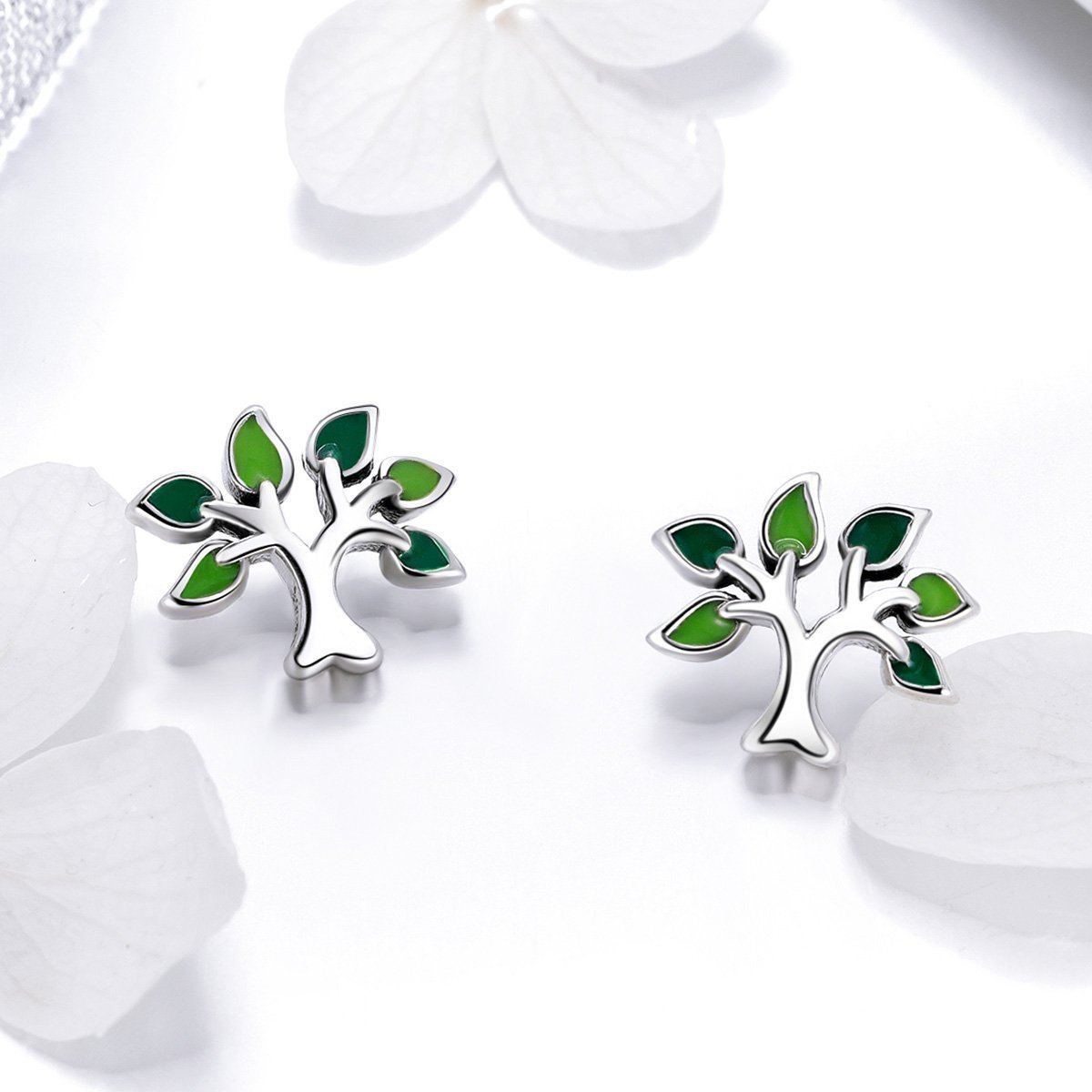 BISAER Tree of Life 925 Sterling Silver Stud Earrings with Green Enamel Leaves, Cute Post Stud Earring Hypoallergenic Jewelry for Women. by BISAER (Image #5)