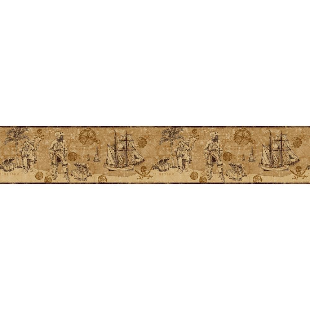 York Wallcoverings ZB3103BSMP Boys Will Be Boys II Pirate Map 8-Inch x 10-Inch Memo Sample Wallpaper-Borders, Bronze/Deep Golden Brown/Rich Cream