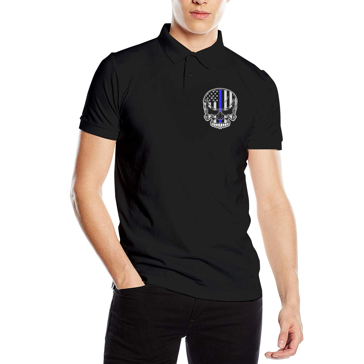 Blue Line Skull Sticker Men Regular Fit Cotton Polo Shirts Classic Short Sleeve Polo White