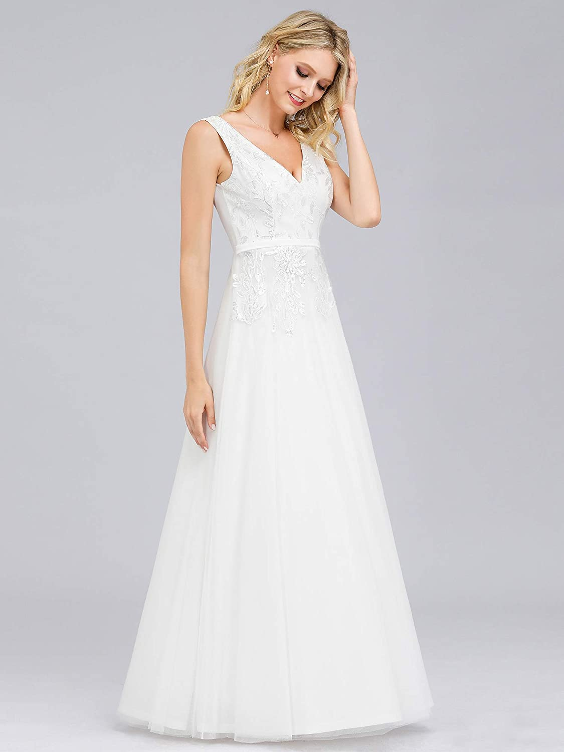 Ever-Pretty Womens V Neck Embroidered A Line Empire Tulle Wedding Evening Dresses 00845
