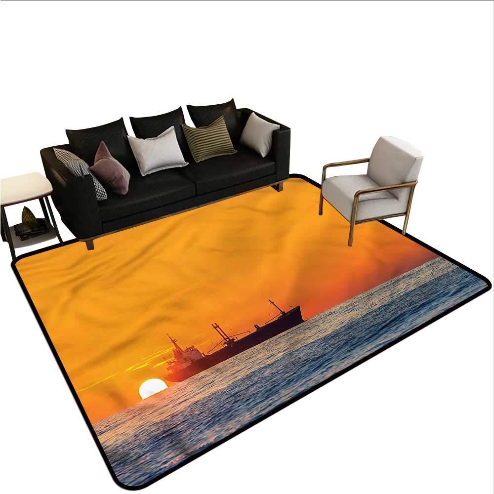 "Nautical,Office Chair Floor Mat Foot Pad 60""x 96"" Yacht Sea Sailing to City Throw Rugs"