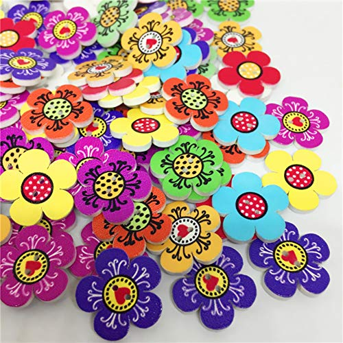 Tofover 100 Pcs Wood Buttons, Small Flower Mixed 2 Holes Buttons 1 Inch Buttons Vintage Assorted Buttons Decorative Buttons Flower Buttons Round Buttons for DIY Sewing Craft