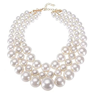 97036002f Jerollin Pearl Necklace,Fashion Multi Strand 3 Layers Statement Chunky  Chokers White Faux Pearls Beads
